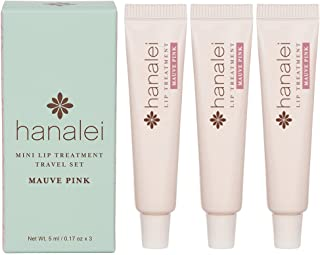 Lip Treatment by Hanalei, Made with Kukui Oil, Shea Butter, Agave, and Grapeseed Oil.Soothe Dry Lips.Cruelty free, Paraben Free.MADE IN USA. Mauve Pink Travel-size 3 pack (5ml/5g/0.17oz x 3 tubes)