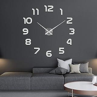 SOLEDI Mute DIY Reloj de Pared, 3D Reloj Pared Adhesivo, Sin Marco Tamaño Grande Reloj, Decoración Ideal para la Casa Oficina Hotel Restaurante, 2 Años de Garantía(Plata)
