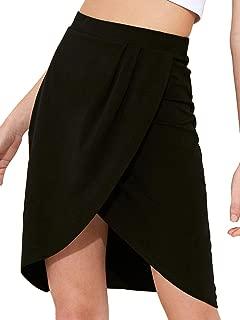 SheIn Women's Casual Split Warp Asymmetrical Elastic High Waist Mini Short Skirt