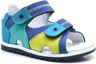 Hakiki Deri Ortopedik Cırtlı Yeşil Unisex Çocuk Sandalet