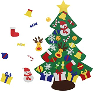 VOCOO Felt Christmas Tree for Kids - 3Ft DIY Christmas Decorations for Wall Door Hanging,with 30 Detachable Christmas Ornaments,Perfect Christmas Gifts for kids