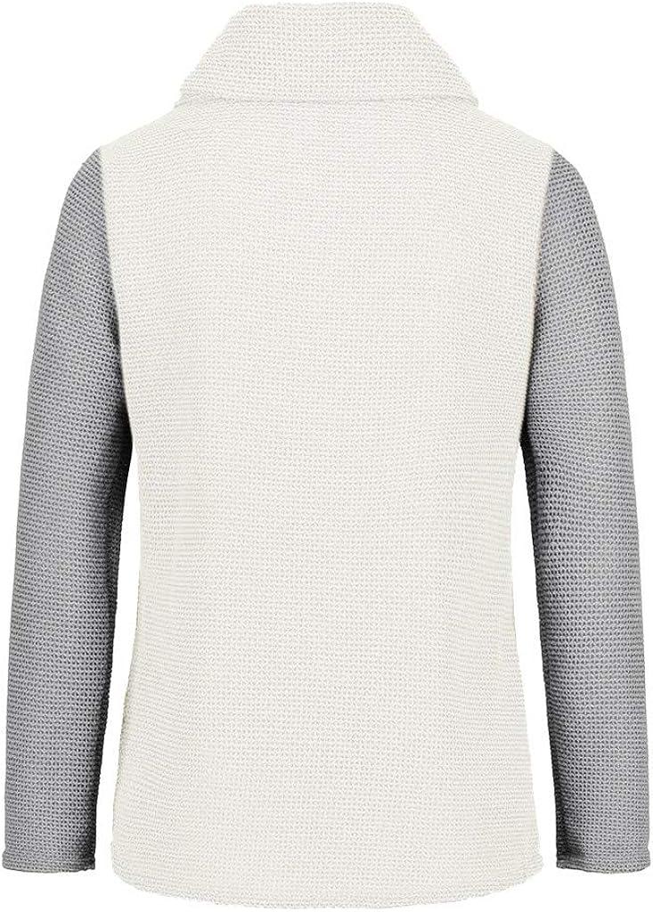 iHENGH Damen Herbst Winter Übergangs Warm Bequem Slim Lässig Stilvoll Frauen Langarm Solid Sweatshirt Pullover Tops Bluse Shirt C Grau