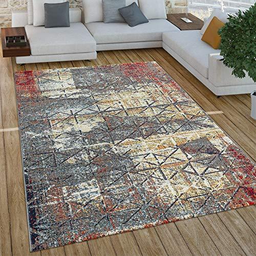 Paco Home Wohnzimmer Teppich Im Vintage Used Look, Industrial Style Kurzflor in Rostfarben, Grösse:160x220 cm, Farbe:Grau 2