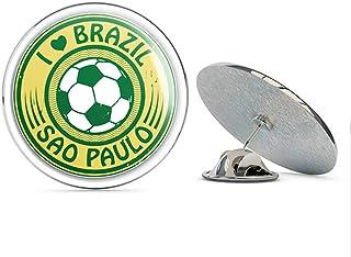 I Love Sao Paulo Brazil Soccer Travel Label Round Metal 0.75