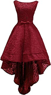 Women's Sleeveless Beaded High Low Prom Dress Lace Evening Gown Burgundy US10