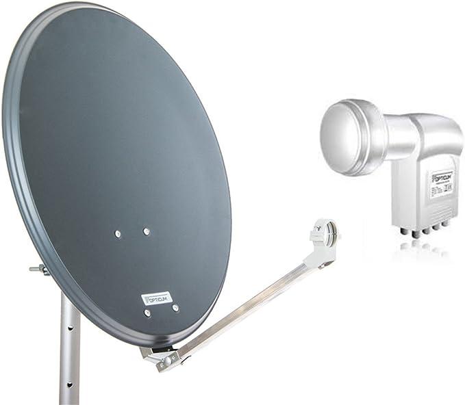 QA60 Antena parabólica de Acero opticum con cuádruple LNB de ladrillo (60 cm)