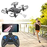 Tuscom Mini D2WH Foldable 6-Axis RC Quadcopter Drone Toys|0.3MP HD Camera,WiFi FPV,2.4G 6-AxisDrone|for Photos Record Great Memory (3 Colors) (Black)
