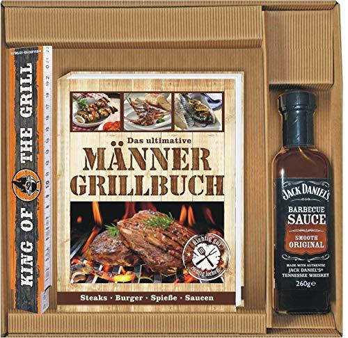Andrea Verlag Das ultimative Männer Grillbuch Geschenke Set mit King of The Grill Zollstock und BBQ Sauce im Geschenkkarton