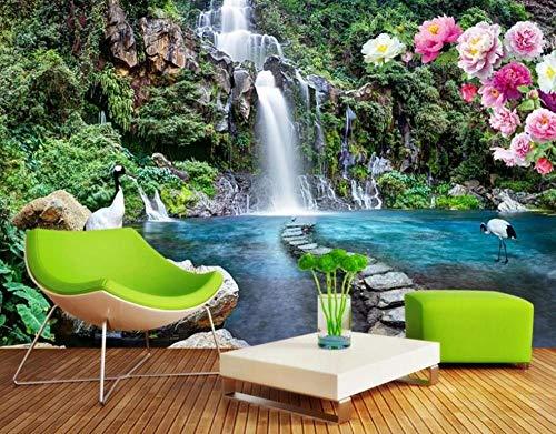LI Wallpaper Fototapete 3D Effekt Tapete Bergwasserfall 3D Tapeten Wanddeko Wandbilder Wohnzimmer Schlafzimmer 150cmX105cm