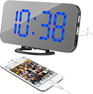"""Alarm Clock, LED Digital Clock with 6.5"""" Large Display, Dual USB Charging Ports, Easy Snooze Function, Diming Mode, Mirror..."""