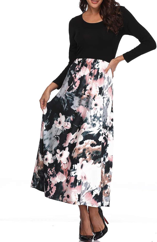 Andy & natalie Women's Bracelet Sleeve Dresses Floral Printed Elastic Waist Patchwork Casual Long Maxi Dress
