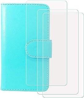 YZKJ Cover för HTC Desire 19s (6,2 tum) fodral [3 st] pansarglas skyddsfilm, flip PU läderfodral mobiltelefonfodral plånbo...