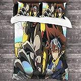 Digimon Adventure Juego de Funda de Edredón 220 x 240 cm 3 Piezas Juego de Ropa de Cama con Cremallera + 2 Fundas de Almohada 50x75 cm Microfibra Suave Juego de Funda de Edredón