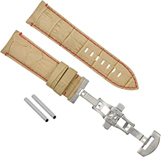 24MM LEATHER BAND STRAP CLASP FOR PAM 44MM PANERAI LUMINOR MARINA BEIGE RED STIT