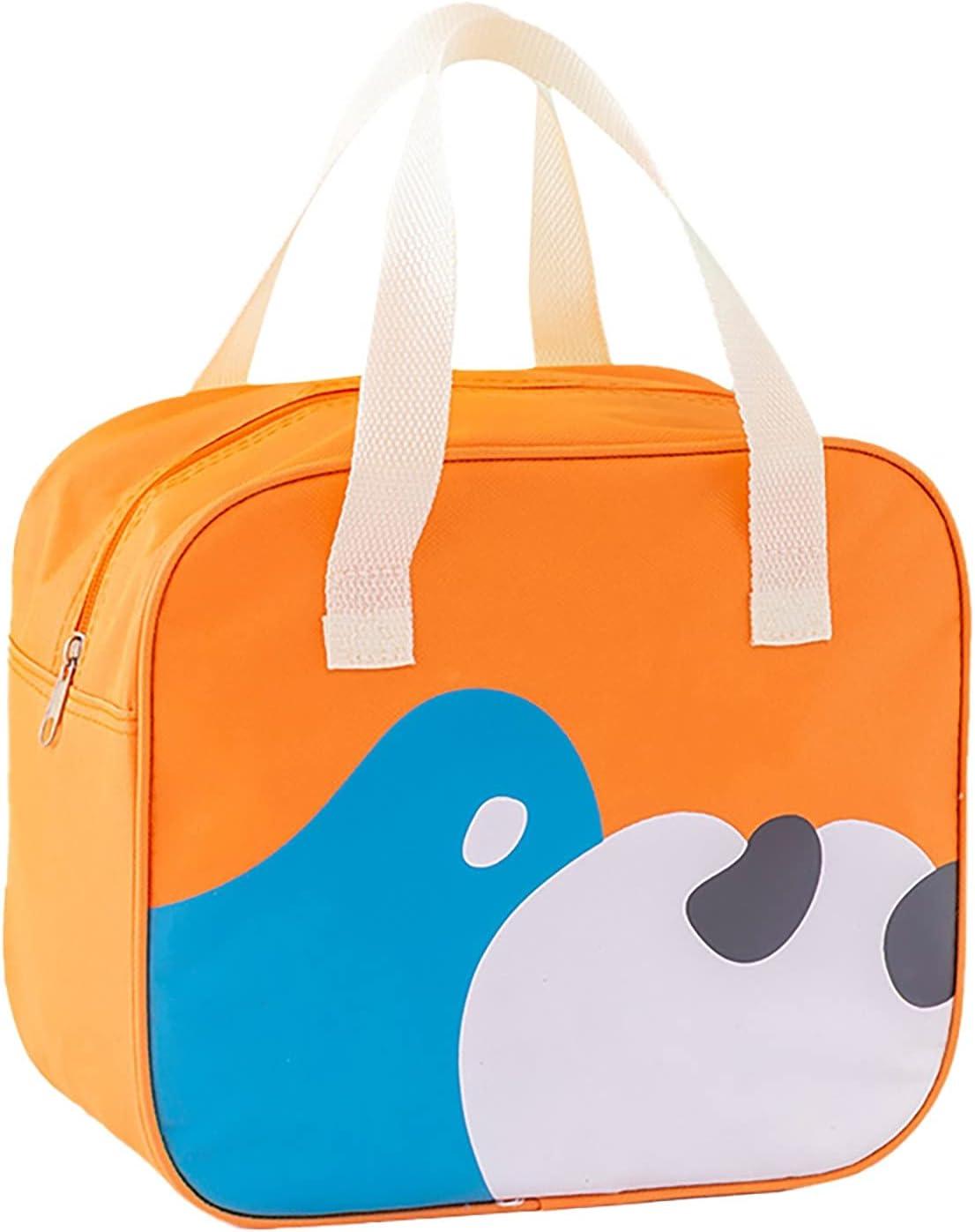 N/AB Bolsa de almuerzo portátil para niños – Fiambrera, equipaje de mano, almacenamiento de alimentos, bolsa organizadora con estampado animal para niños y adultos (naranja)
