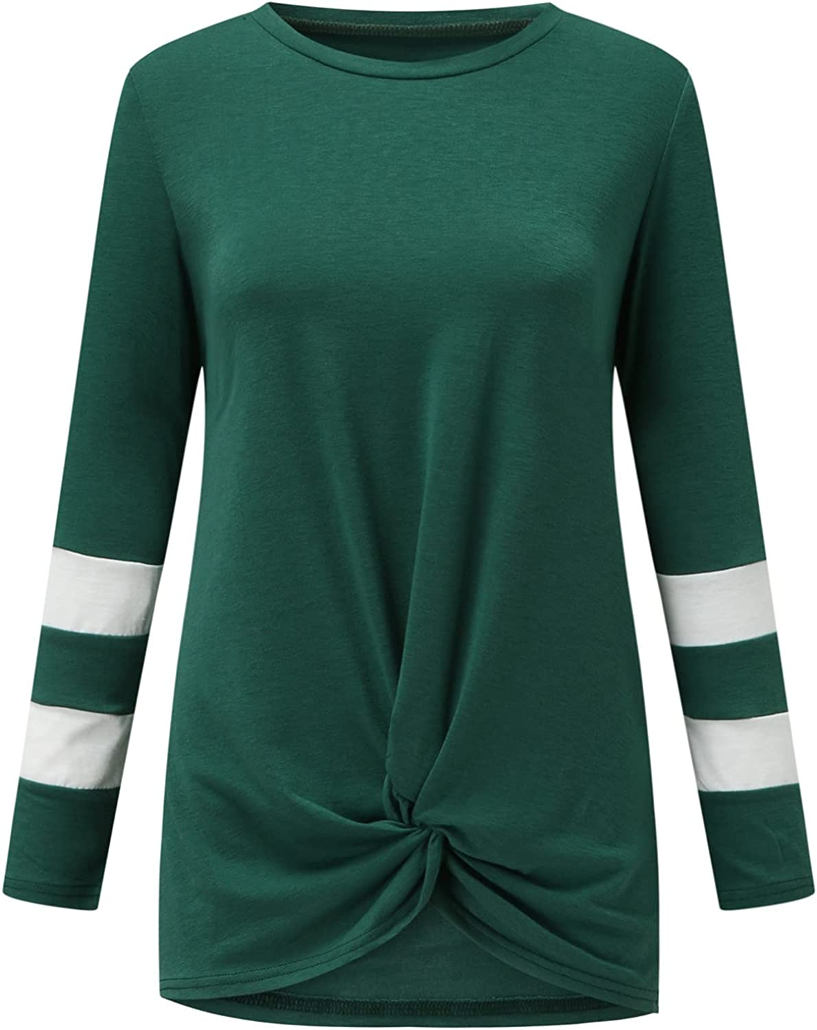 Pandaie Solid Color Max 56% OFF Long Sleeve Tops V Women Stripe Splicing for Cheap sale