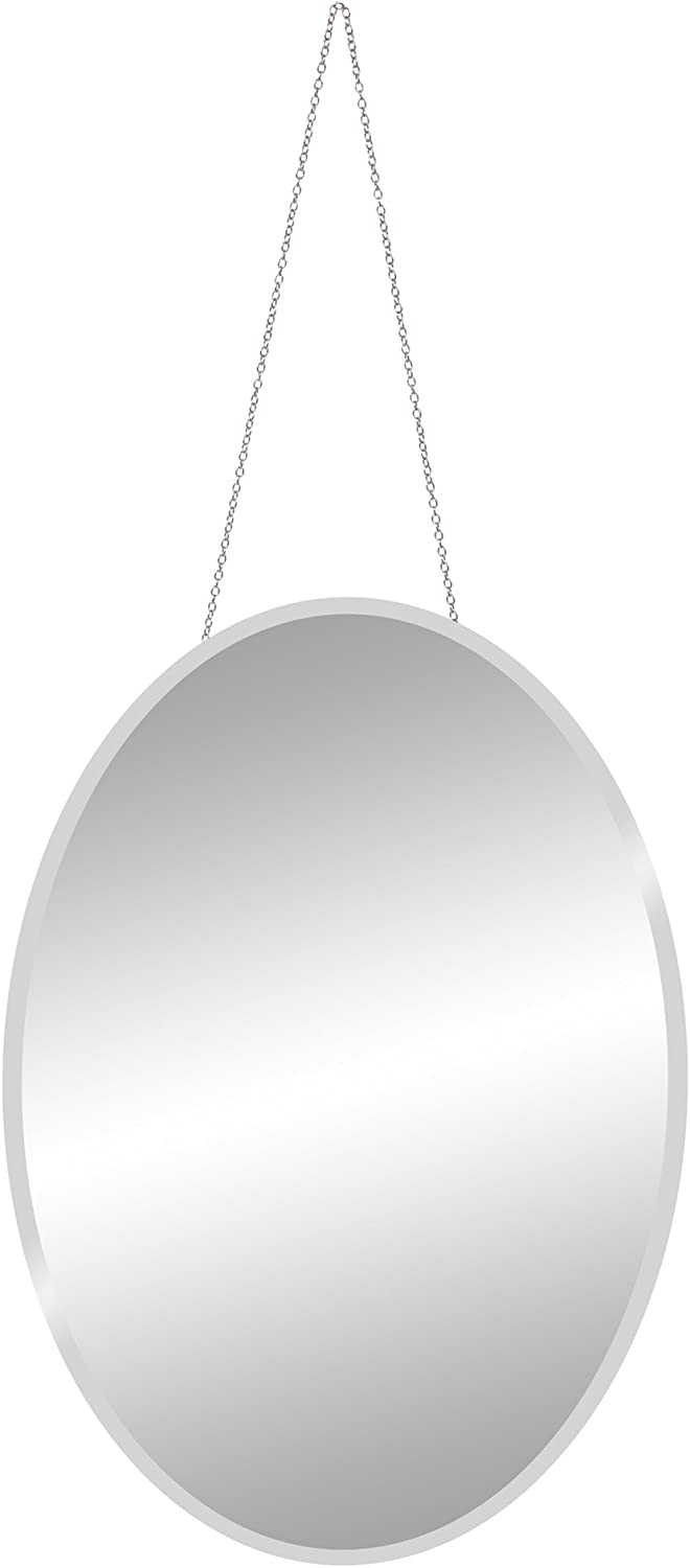 Patton Wall Decor 17x27 Frameless Beveled Oval Hanging Chain Wall Mirror Silver
