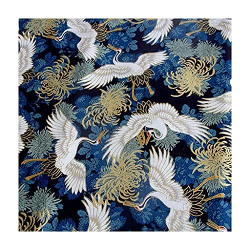 ANWUYANG BU Tela De Algodón De La Grúa Japonesa De 145cm De La Grúa Japonesa Tela Impresa De Oro, Hecho A Mano Bricolaje Bolsa De Patchwork Kimono Calico (Color : Coffee)