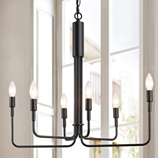 LOG BARN Chandeliers, Dining Room Lighting Fixture Hanging, Farmhouse Pendant in Black Metal Finish for Kitchen Island