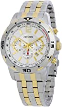 Citizen Two Toned Stainless Steel Case, Band and White Dial With Chronograph and Tachymeter For Men, Silver & Gold - AN8104-53A