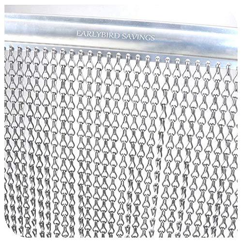 Kettenvorhang aus Aluminium Silber 90 x 200 cm für Fliegen und Insekten