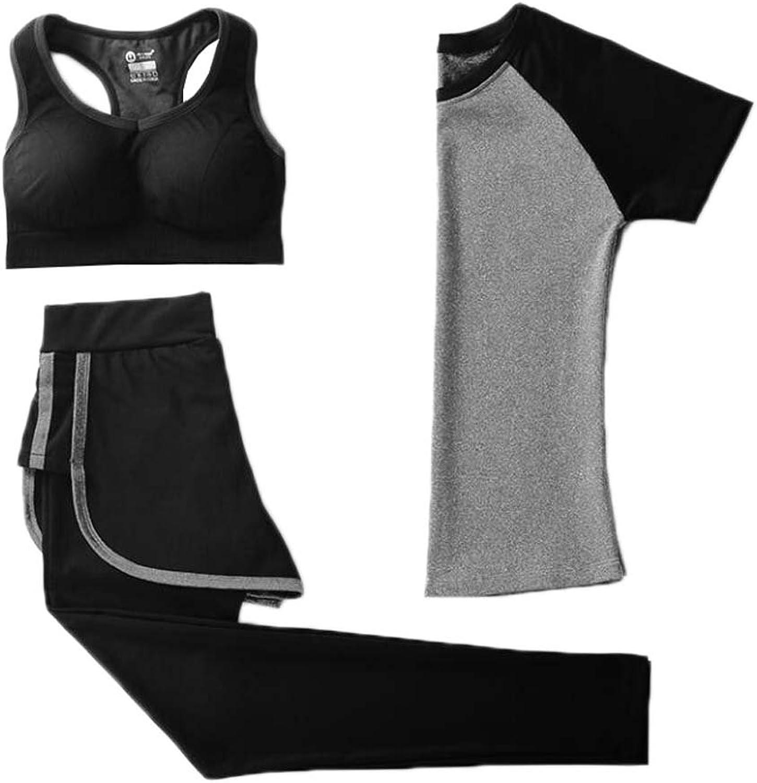 Women's Yoga Gym Wear Outfits 3pcs Bra TShirt and Leggings Pants