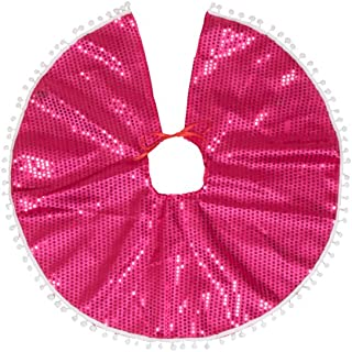 "Clever Creations Pink Sequin Christmas Tree Skirt Pink Sequins with White Border | Traditional Festive Holiday Decor | Helps Contain Needle Mess | Perfect Size for Small Trees | 25"" Diameter"
