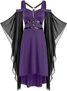 Aniywn Women Plus Size Gothic Dress Off Shoulder Strappy Flare Sleeve Flowy Dress Halloween Party Dress