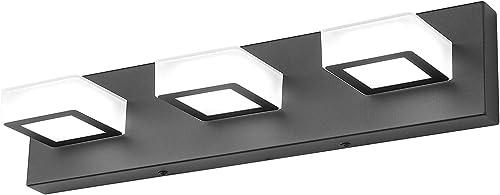 Ralbay 3 Light Dimmable Bathroom Vanity Light LED Modern Matte Black Vanity Wall Light Acrylic Stainless Steel Bathro...