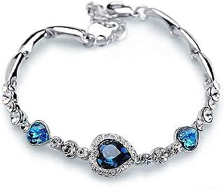 CAILI Pulsera Mujer,Pulsera de Plata con Circonita Azul,Pulsera de Aleación en Forma de Corazón, San Valentin,Regalo para ...