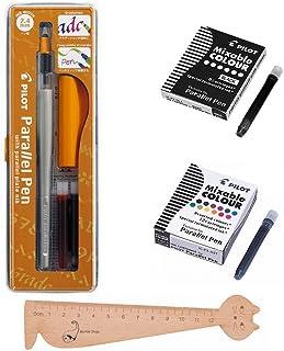 Lot Pilot Parallel Pen 2,4mm + 1caja de 12cartuchos de tinta, varios colores + 1caja 6cartuchos negras + 1regla marcapáginas en madera blumie