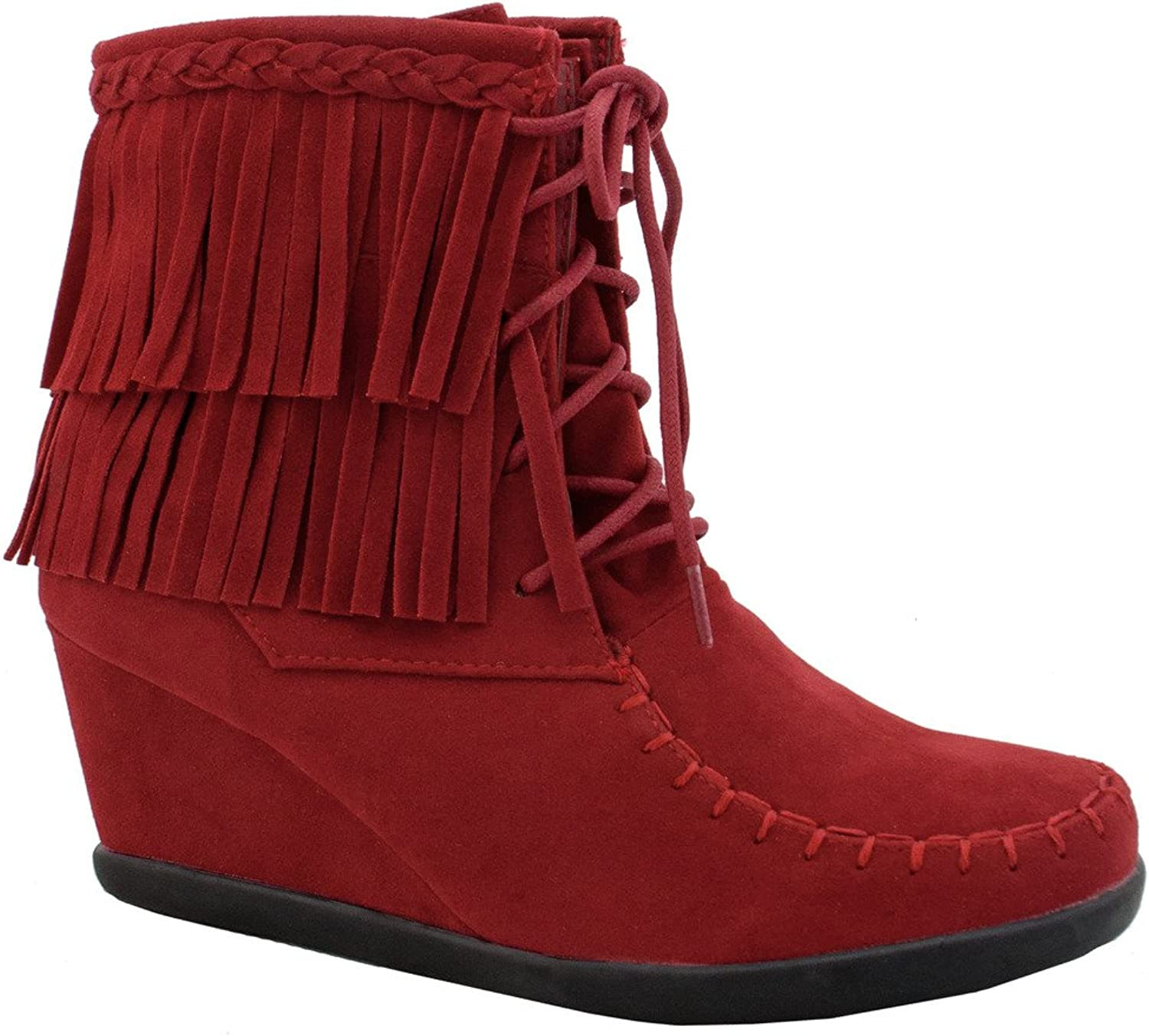 Women's Two Layered Tassel Moccasin Lace Up Fashion Ankle Wedge Bootie