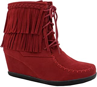 650e41c6f13 Women s Two Layered Tassel Moccasin Lace Up Fashion Ankle Wedge Bootie