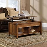 Carson Forge Lift Top Coffee Table in Cherry,stylish Modern Contemporary Traditional Home Decor Furniture,wooden Laptop Tables with Built-in Shelf with Divider,hidden Storage, Eco-friendly Made of Non-toxic Materials,uv Resistant,safe for Kids