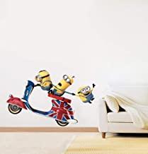 Decorvilla PVC Vinyl Scooter Minions Wall Sticker and Decal (58 x 36 cms, Multicolor)
