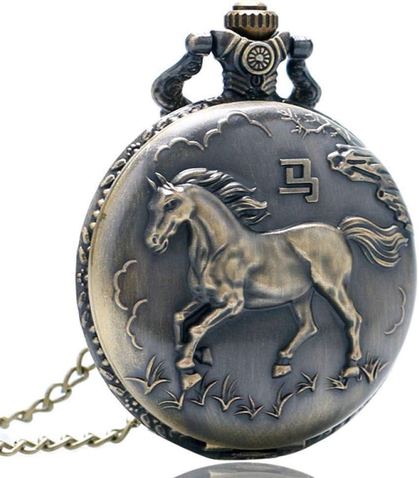 Reloj de bolsillo Bronce Antiguo Vintage Caballo Chino Zodíaco 12 Tallado Trasero Reloj de Bolsillo Largo Collar Cadena Retro Mujeres Hombres Regalos Retro Punk JoinBuy.R