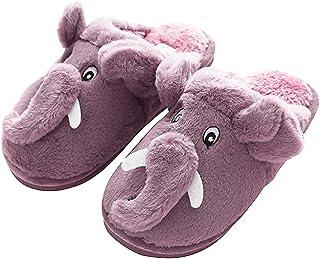 Popuid Cute Fuzzy Elephant Fleece Slippers for Women Soft Christmas Bedroom Non-Slip Slipper