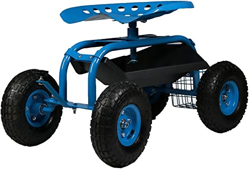 popular Sunnydaze Rolling Gardening Chair Cart with Wheels - Full sale Range 360 Swivel Seat high quality with Adjustable Height - Utility Tool Tray and Storage Basket - Blue outlet online sale