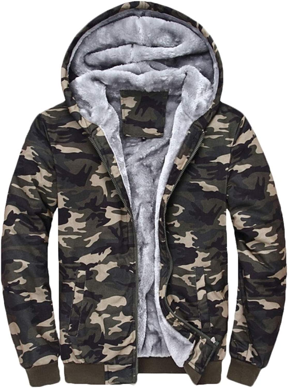 Jxfd Men's Winter Hooded Half Zip Sports Coats Fleece Camouflage Printed Coat