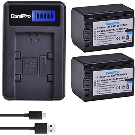 2X Pack Charger 3900mAh, 7.2V, Lithium-Ion Sony HDR-PJ760 Battery High Capacity Replacement for Sony NP-FV100 Digital Camera Battery and Charger