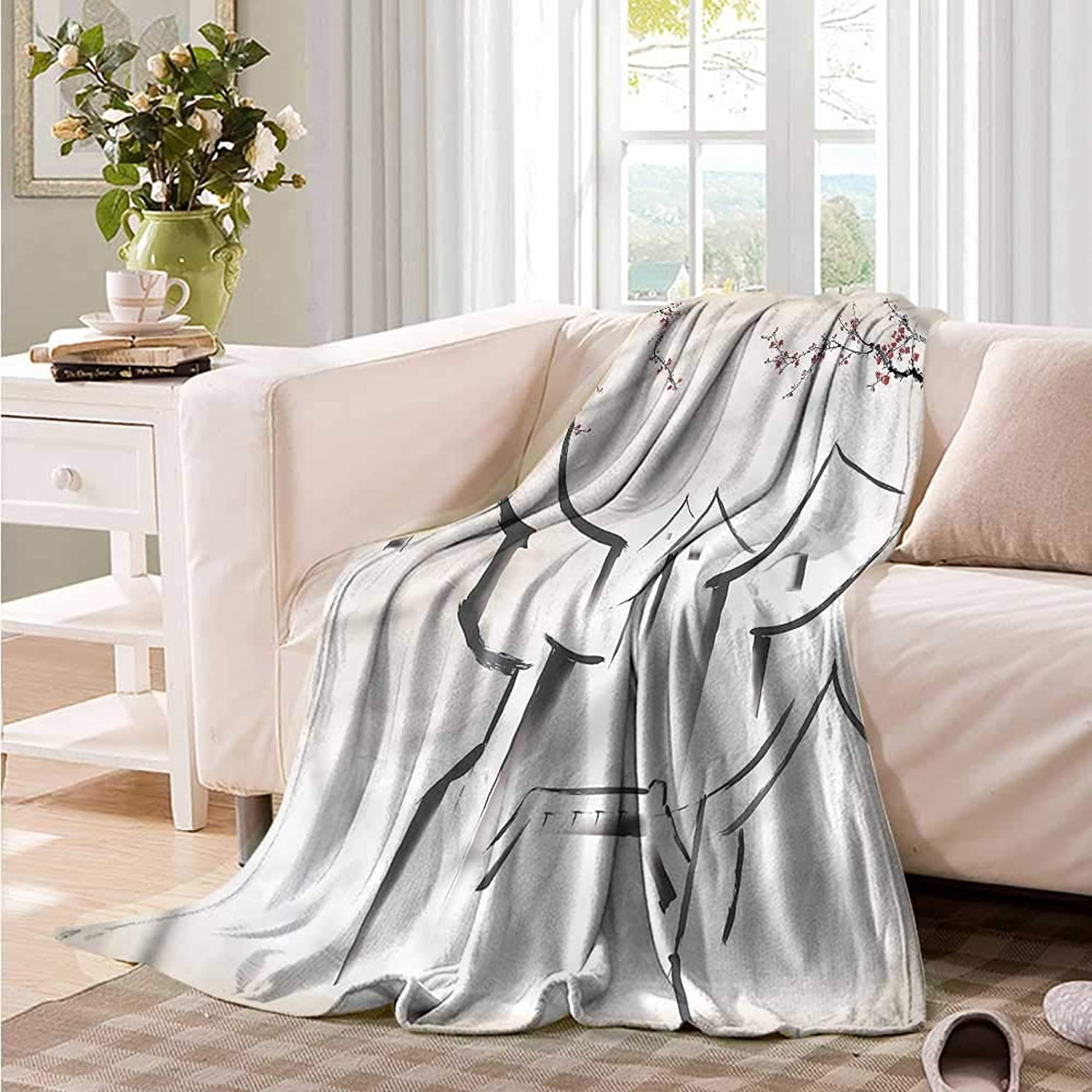 Oncegod Family Blanket Asian Sketch Houses Sakura Trees Camping Throw,Office wrap 60  W x 51  L