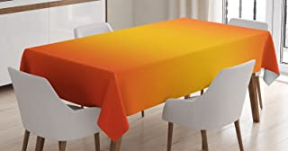 Ambesonne Ombre Tablecloth, Tropical Sunset Seasons of The Year Inspired Summer Themed Design Modern, Rectangular Table Cover for Dining Room Kitchen Decor, 60