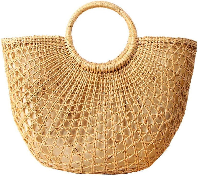 Eeayyygch damen damen damen Vintage Stroh Geflochten Handtaschen Casual Strand Urlaub große Tragetaschen mit Runden Griff Ring (Farbe   -, Größe   -) B07JJ89333  Guter Markt c3d57c