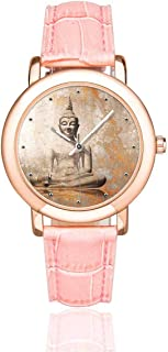 InterestPrint Chinese Meditation Zen Art Women's Rose Gold-plated Watch Pink Leather Strap Wrist Watches