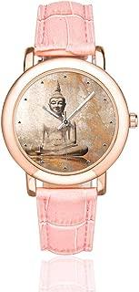 InterestPrint Chinese Meditation Zen Art Women's Rose Gold-plated Watch Pink Leather Strap Wrist Watches