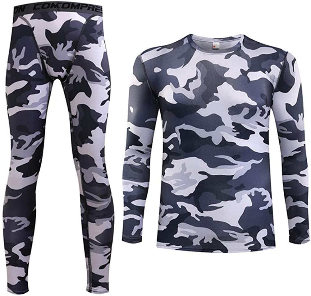 Thermal Underwear for Men Stretchy Sport Long John Set Winter Top and Bottom Base Layer
