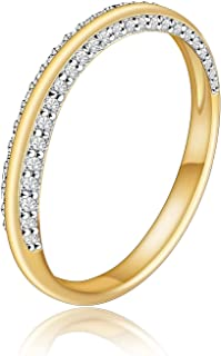 Anillo de media eternidad de plata de ley 925 para mujer con anillos de banda infinita chapados en oro de 18 quilates Anil...