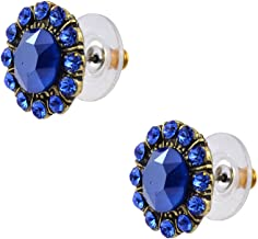 product image for Anne Koplik Gold Plated Round Stud Earrings in Royal Blue Crystal