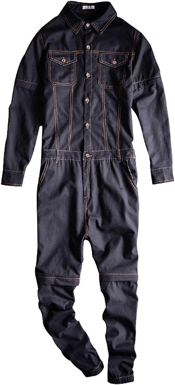 Tealun Detachable Max 89% OFF Sleeve Short Max 65% OFF Men's Denim Bl Jumpsuits Overalls