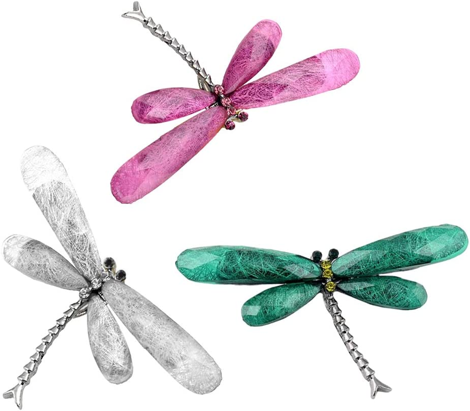 Amosfun Resin Brooch Dragonfly Lapel Pin Corsage Breastpin Jewelry Costume Accessories Gift for Women 3pcs (Grey+Green+Rosy)